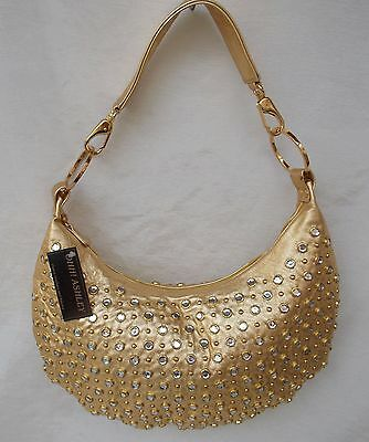 New Women's Ohh Ashley Leather Large Slouch Hobo Stones & Nail Heads Gold Foil