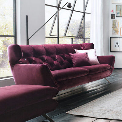 Sofa Sixty 2,5-Sitzer Couch in Velour Stoff purple lila ...