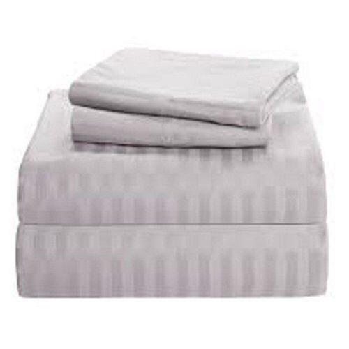 "Luxury Bedding Set All Size Light Grey Stripe 600 TC Pure Cotton 15/"" Deep"