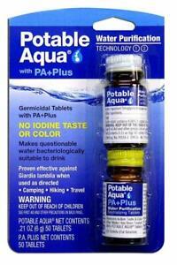 Potable-Aqua-tabletas-de-purificacion-de-agua-con-PA-Plus-dos-botellas-de-50-Hilos