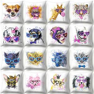 Am-KF-Giraffe-Leopard-Gorilla-Heart-Glass-Pillow-Case-Cushion-Cover-Car-Decor