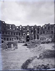 TUNISIE-El-Jem-Djem-Amphitheatre-c1900-NEGATIF-Photo-Stereo-Plaque-Verre-VR10L6