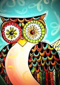 Owl Bright Colour Painting A3 Art Print Poster Yf5397 Ebay