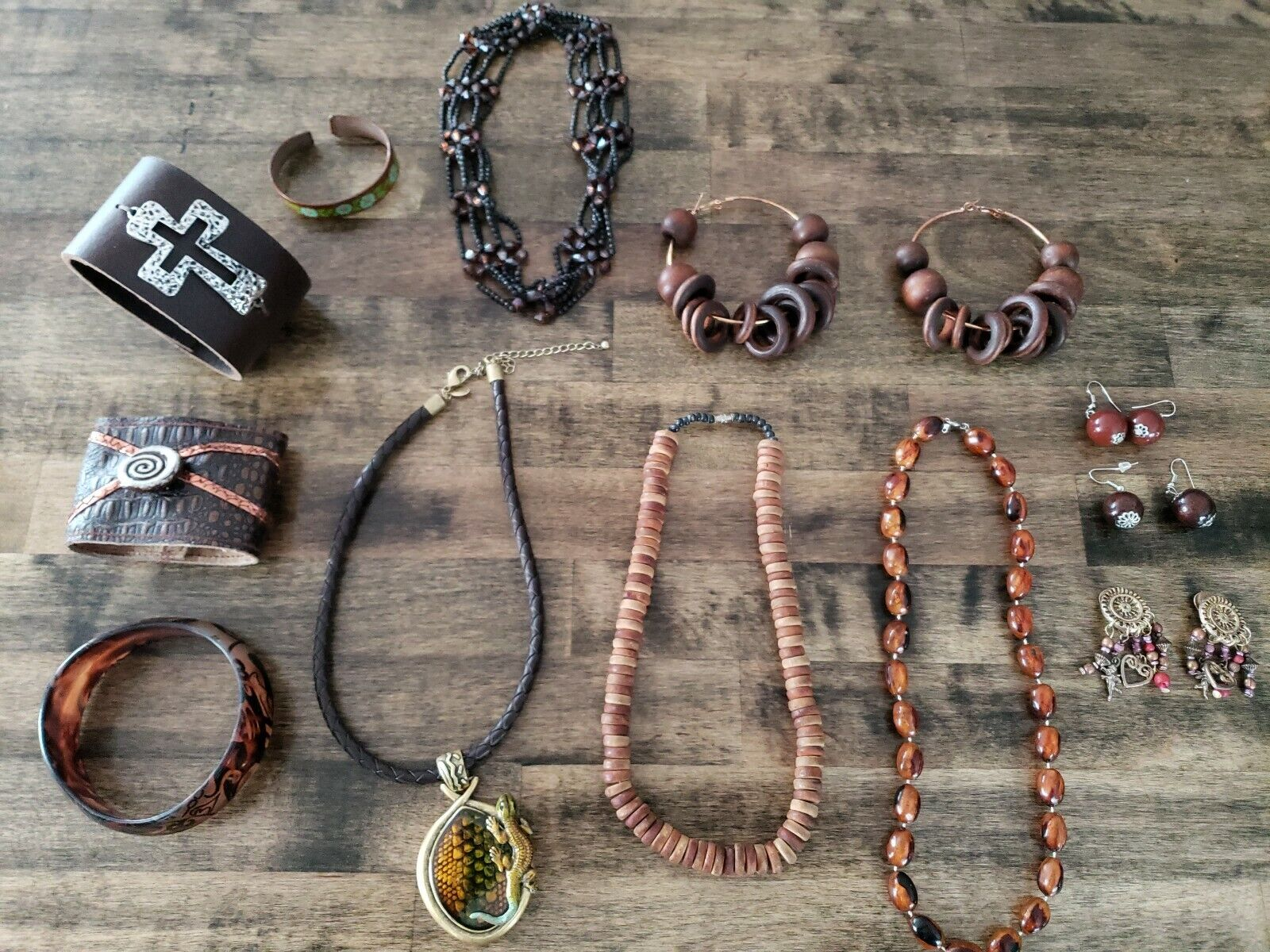 Costume Jewelry Lot Brown Necklace Bracelet Earin… - image 1