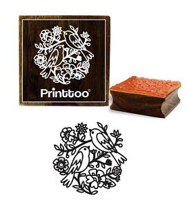 Printtoo-Square-Floral-amp-Vogel-Muster-aus-Holz-Stempel-Karte-machen-lT0