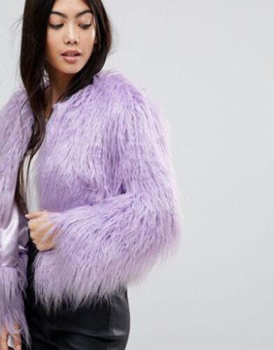 Fur Bnwt Petite Miss Rosa Faux Uk 10 Ladies Jacket Shaggy taglia Lilla Selfridge SRwwnx4