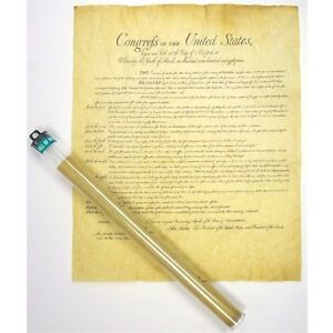 """BILL OF RIGHTS POSTER 23"""" X 29"""" PARCHMENT DOCUMENT REPRODUCTION NEW"""