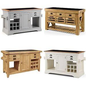 Details about Solid Oak Freestanding Luxury Kitchen Island With Granite  Worktop