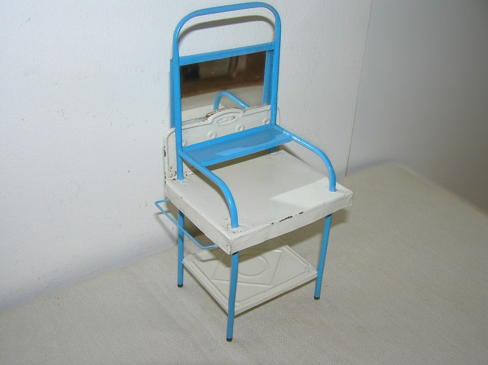 ANTIQUE TIN DOLL HOUSE MAKE-UP DESK WITH MIRROR.