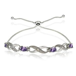 0235c6138 Image is loading Sterling-Silver-Amethyst-and-Diamond-Accent-Infinity- Adjustable-