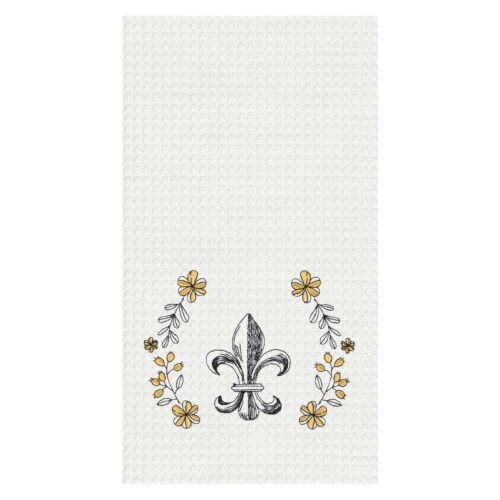 "100/% Cotton Waffle Weave with Embroidered Design /""Fleur de Lis/"" Dish Towel"