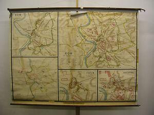 Schulwandkarte-schoene-alte-Stadt-Rom-Forum-Kaiserfora-208x154cm-vintage-map-1900