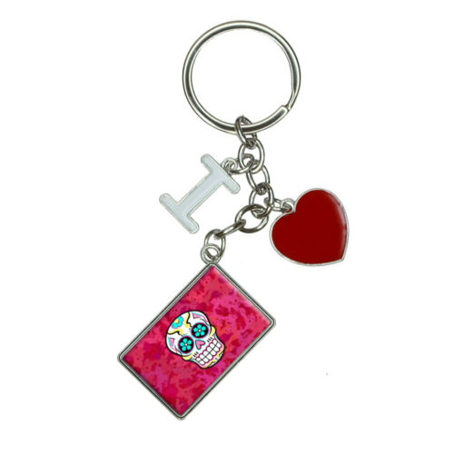 Sugar Skull I Heart Love Keychain Key Ring
