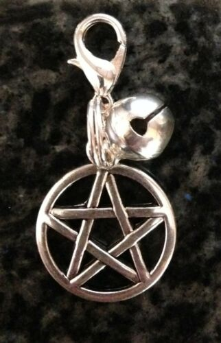 Pentagram Pet Collar Charm with Bell your Pagan//Wicca Pet Jewellery