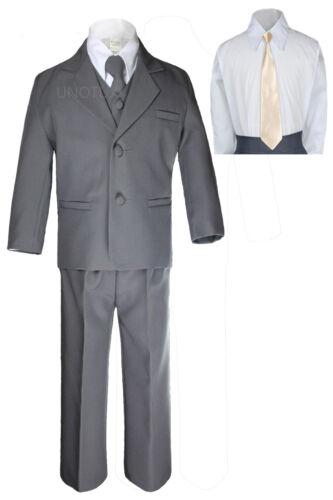 New 6pc Boys Toddler Kid Formal Wedding Tuxedo Dark Gray Suits Necktie Set S-7