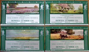 Hammondsport-NY-Art-Deco-1938-Advertising-Blotters-SET-OF-FOUR-w-Rulers-Lumber