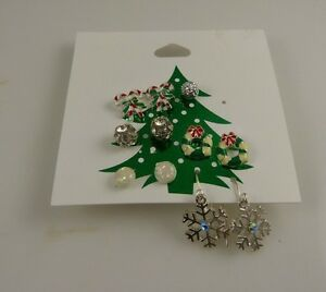 Claires-Earrings-studs-and-dangle-pierced-crystals-assortment-5-pairs-Christmas