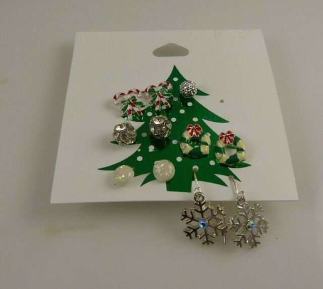 Claires Earrings studs and dangle pierced crystals, assortment 5 pairs Christmas