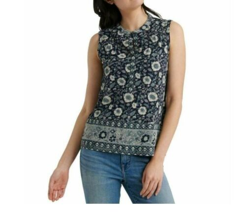 Tahari Misses Womens Floral Sleeveless Blouse Top SZ S Rouched Blue Purple Sale