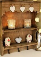 SHABBY CHIC WALL SHELF UNIT STORAGE DISPLAY CABINET HOOKS RUSTIC WALL UNIT