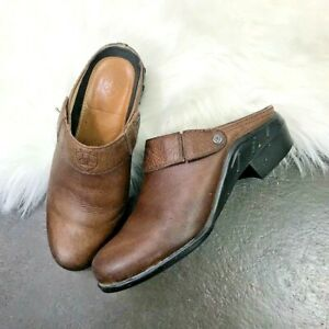 Ariat-Western-Cognac-Brown-Leather-Slip-On-Mule-Shoes-Size-6-5-Pointed-Toe-Clog
