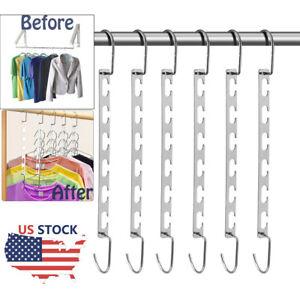 6x Metal Wonder Magic Closet Hanger Organizer Hook Space Saving Clothes Rack