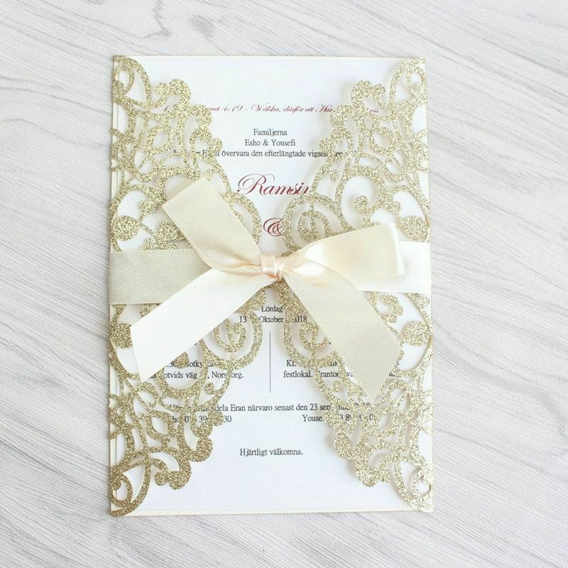 Glitter Invitation Event Cards Folding Type With Butterfly Ribbon 50 Pcs Lot New