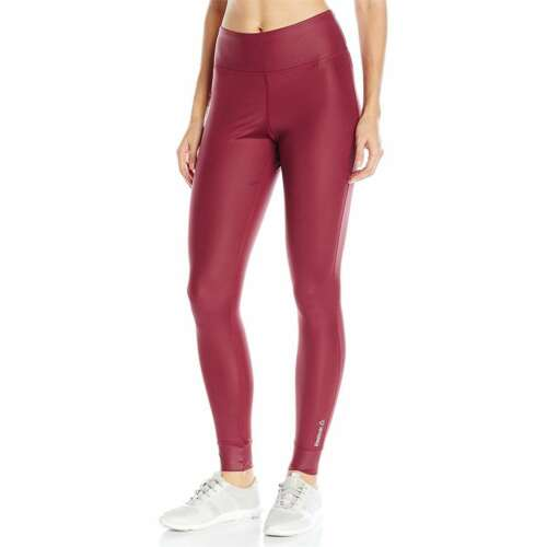 Women Reebok Cardio Studio Leggings Yoga High Shine Merlot Red NEW Authentic