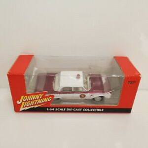 Rare-Johnny-Lightning-1961-Ford-Galaxy-Police-Car-White-Lightning-Chase-Red