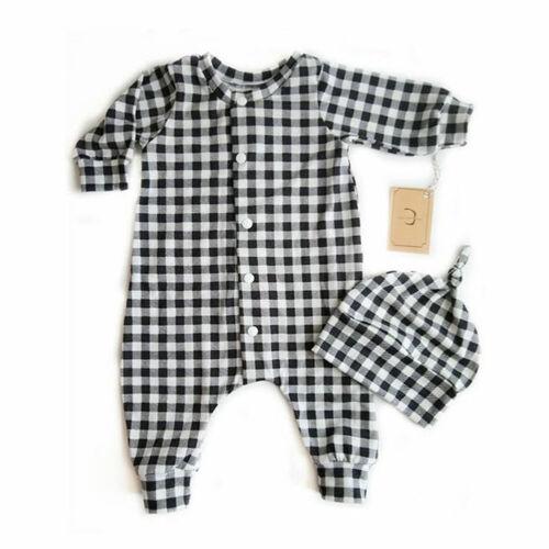 US Newborn Baby Boys Girl Plaid Romper Jumpsuit Bodysuit Hat Outfit Clothes Tops