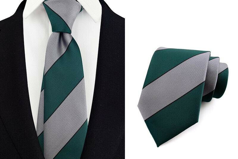 Stripe Tie Silver Green Black Pattern Handmade 100% Silk Club Marriage