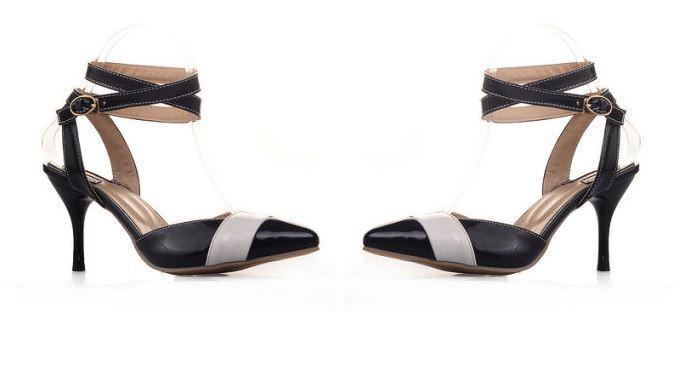 Sandales éscarpins été femme talon aiguille 7 cm noir blanc rouge jaune 8859