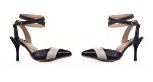 sandalias zapatos de salón verano mujer talón perno 7 cm blanco negro rojo