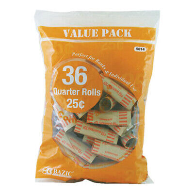 BAZIC Quarter 25-Cent Coin Wrappers 36 Per Pack #5014