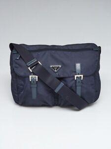 99f22994e779 Image is loading Prada-Navy-Blue-Tessuto-Nylon-Buckle-Messenger-Bag-