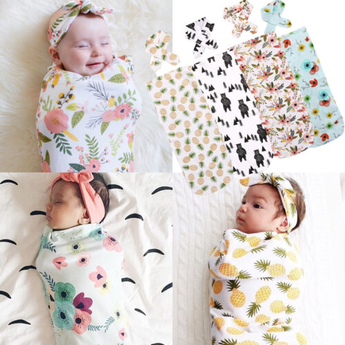 Newborn Baby Infant Swaddle Blanket Sleeping Swaddle Soft Muslin Wrap+Headband