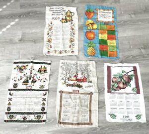 Vintage European Linen Kitchen Dish Tea Towels Calendar 69 72 73 79 97 Lot of 5