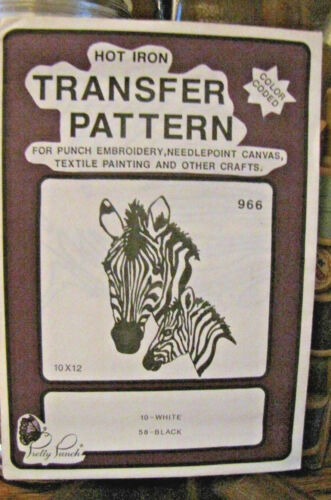 etc Pretty Punch Iron Transfer Pattern Punch Embroidery Zebras #966 -NOS