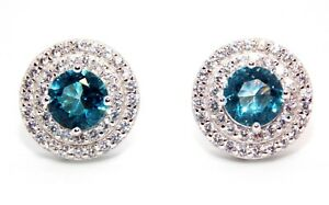 Plata-De-Ley-Topacio-Azul-Cielo-amp-Arito-diamante-de-3-12ct-925