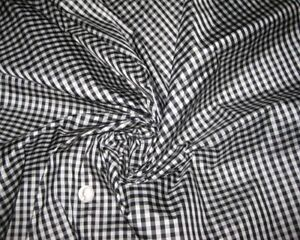 SMALL-GINGHAM-BLACK-amp-WHITE-100-SILK-PURE-SILK-FABRIC-for-BLOUSE-DRESS-SKIRT