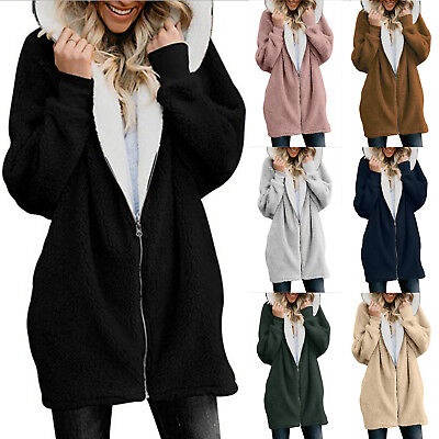 Damen Warme Fleecejacke Teddyjacke Kapuze Strickjacke Cardigan Jacke Mantel Tops   eBay