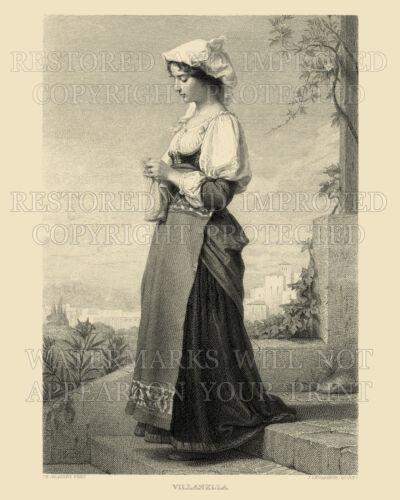 Larger prints availab Italian girl knitting Italy 1874 engraving 8x12 repro art