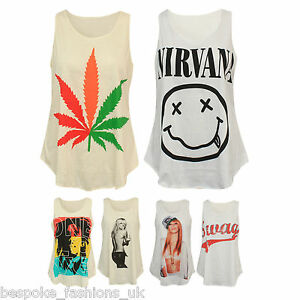 Ladies-Womens-Various-Print-Summer-Sleeveless-Vest-Top-T-Shirt-One-Size