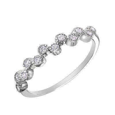 ALTERNATING BUBBLE RING W// .40 CT LAB DIAMONDS SZ 5-9 925 STERLING SILVER