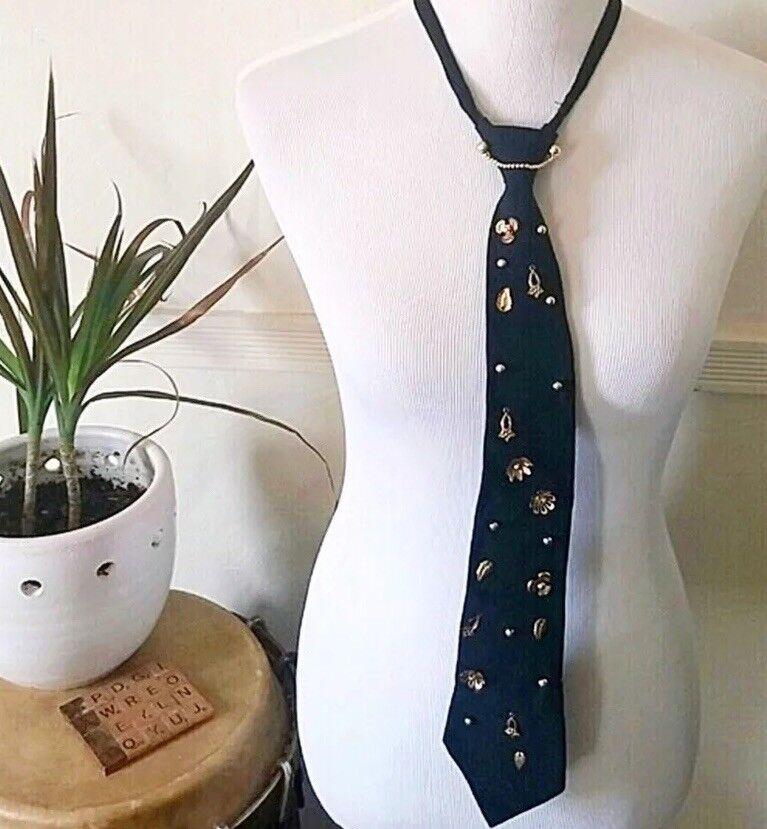 Vintage deco zipper tie with gold embellishments