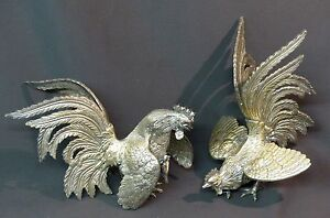 Juste C 19èm Jolie Paire Sculptures Coqs De Combat 25cm2.6kg Bronze Argenté Très Déco