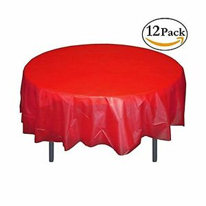 Image Is Loading 12 Pack Premium Plastic Tablecloth 84in Round Table