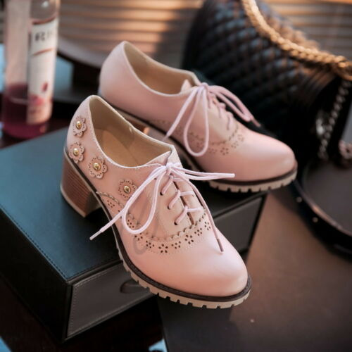Up Retro Block Floral Plus Mid Rivet Lace Brogue Heels Shoes Oxford Womens Size xwFIq6wfH