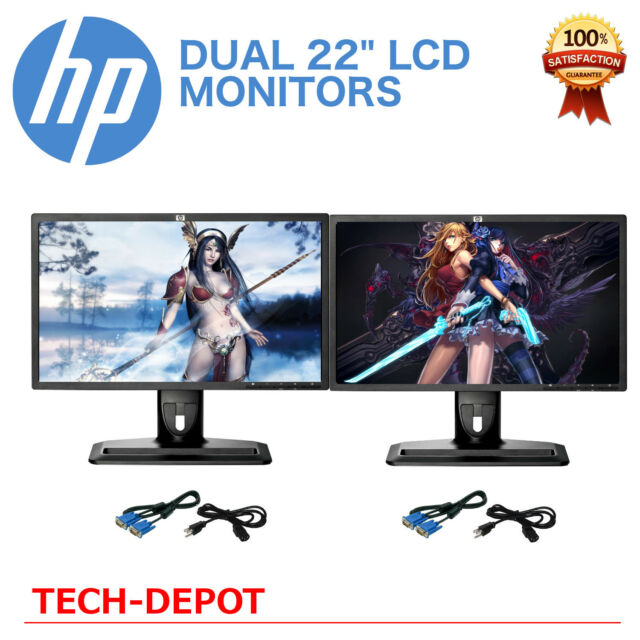 "DUAL Matching 22"" Widescreen LCD Monitors w/ cables Gaming / Office - LOW PRICE"