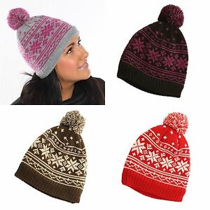 2503bb37f54 Ski Hat Unisex Chunky Knitted Woolly Pompom Winter Beanie Snowflake ...